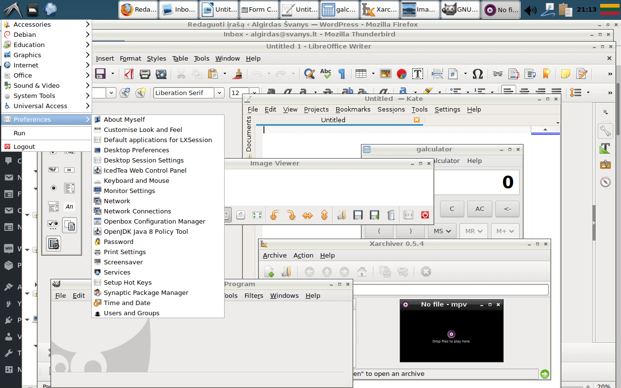 debian, LXDE, screenshot, ekranas
